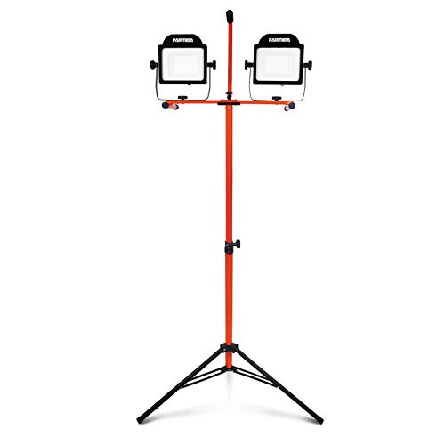 PARMIDA LED Dual-Head Work Light with 6ft Adjustable Tripod Stand, 20,000 Lumen, 200W, Durable Aluminum Body, IP65 Waterproof, Foldable Stand, Multi-Directional & Detachable Heads, ETL-Listed