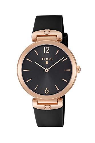 Reloj Tous S-Mesh de acero IP rosado con correa de silicona negra Ref:800350855