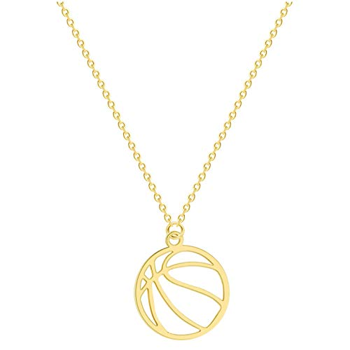 Gbrand Round Volleyball Pendant Necklace Stainless Steel Jewelry Sport Volley Ball Necklace For Women Men Gift-Gold_Color