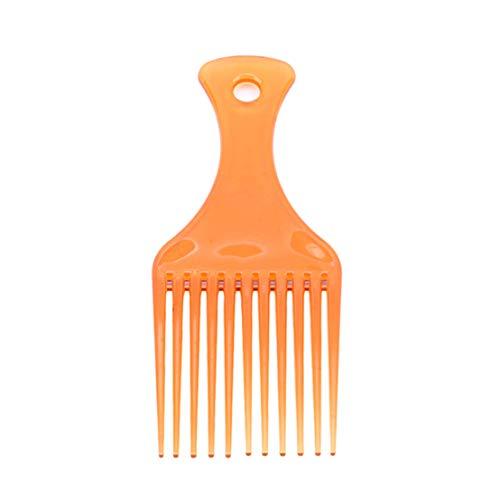 Kissherely 1Pc Afro Outils De Coiffage Insérez Cheveux Pick Peigne Long Engrenage À Dent Brosse À Cheveux (Marron)