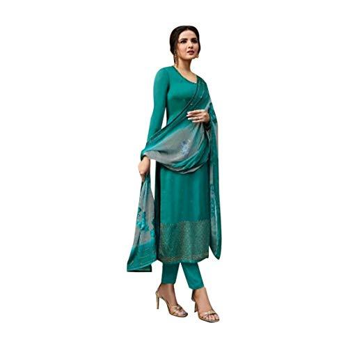 Georgette 8628 Damen Anzug mit Swarovski-Steinen, Handarbeit, Salwar Kameez, Muslim, Bedruckt, formelle Party, indische Frauen 8 grün