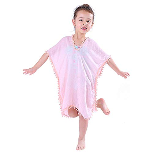 VEFSU Toddler Kids Baby Girls Cover-ups Swimsuit Loose Wraps Beach Dress Tops Pompom Trim Tassel Pink