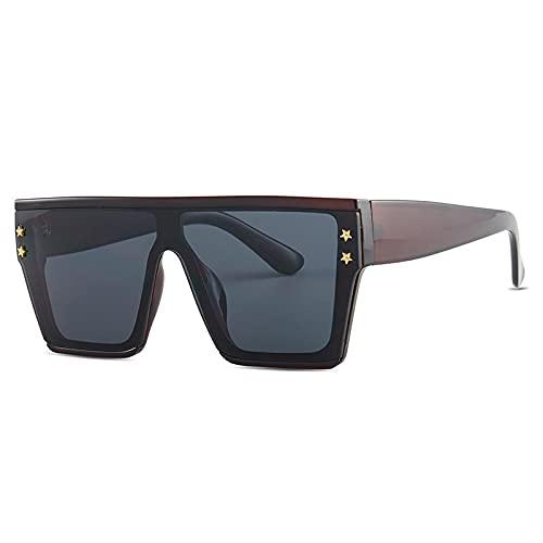 JINZUN Gafas de Sol cuadradas de Marco Grande de Moda Gafas de Sol de Calle de Moda Espejo Parasol Anti-UV