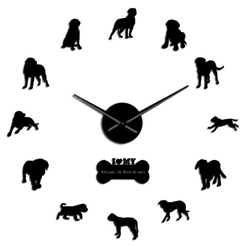 hufeng Reloj de Pared French Dogue De Bordeaux Cartoon DIY Reloj de Pared Decoración para el hogar Cool Dog Breed Kids Room Nursery Silent Vintage Wall Clock Gifts