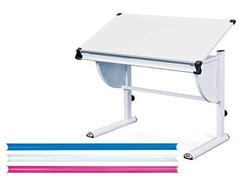 Inter Link Schreibtisch Schülerschreibtisch ergonomisch aus Metall und MDF in weiss pink und blau