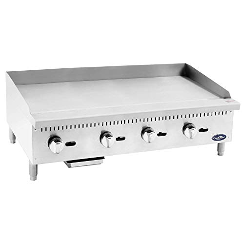 Commercial Natural Gas Griddle, Cook Rite Heavy Duty Stainless Steel Flat Top Countertop Restaurant Griddle Grill 48' - 120,000 BTU