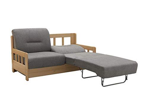 lifestyle4living Schlafsofa in Grau/Braun zum Ausziehen - 2 Liegeflächen | Microfaser/Massivholz/Federkern | Gemütliches Sofa mit Schlaffunktion im Landhaus-Stil