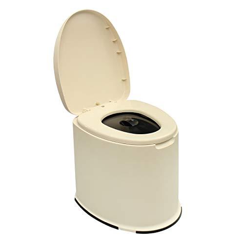 WYFDM Toilette Portatile per Campeggio 12L Toilette Portatile Toilette Mobile Viaggi Campeggio Esterno Escursionismo Toilette per Uomo Anziano Bambini in Gravidanza Carovana Vasino da Viaggio,Beige