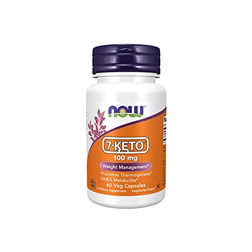 NOW Supplements, 7-Keto (DHEA Acetate-7-one) 100 mg, Weight Management*, 60 Veg Capsules