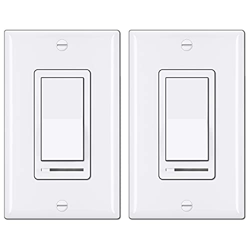 [2 Pack] BESTTEN Dimmer Light Switch, Universal Lighting Control, Single Pole or 3 Way, Compatible with LED Dimmable Lamp, CFL, Incandescent, Halogen Bulb, Decorative Wallplate Included, White