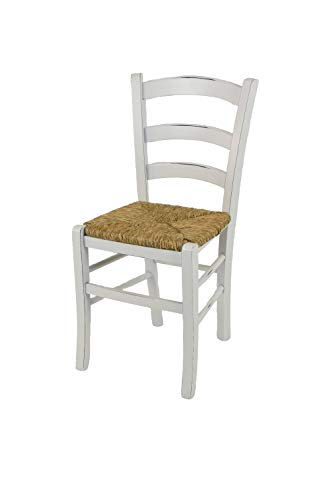 t m c s Tommychairs - Sedia modello Venezia per cucina bar e sala da pranzo dallo stile Shabby Chic, robusta struttura in legno di faggio anticata artigianalmente a mano e seduta in paglia