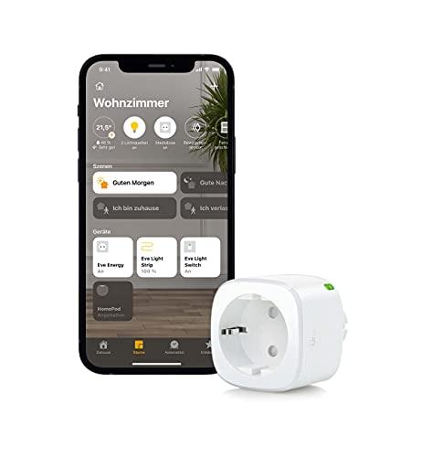 Eve Energy - Smarte schaltbare Steckdose (dt. Markenqualität), TÜV-zertifiziert, Verbrauchsmessung, Zeitpläne, schaltet Geräte ein/aus, keine Bridge nötig, Smart Plug, Apple...