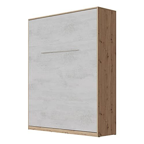 SMARTBett Standard 160x200cm Vertical Roble Salvaje/Concreto   Cama Abatible, Cama De Pared, Cama Plegable, Cama Oculta