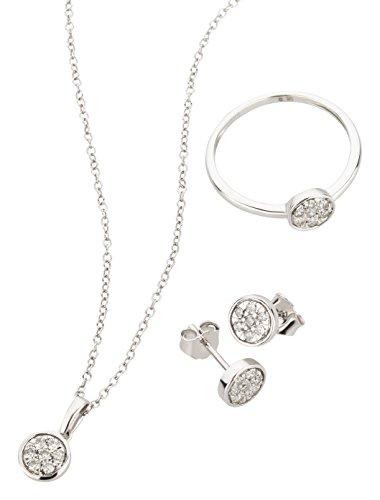 Ardeo Aurum Damen Schmuck-Set Ring Ohrringe Anhänger Kette Collier aus 375 Gold Weißgold mit 0,5 ct Diamant Brillant