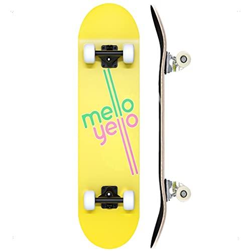 TACKLY Skateboard Adulto Completo 7-9 Capas/Layers – monopatín Skate 31�x8 Madera de Arce para niños y Adultos Unisex – Apto para Todos los Niveles Principiante intermedio avanzado (Mellow Yellow)