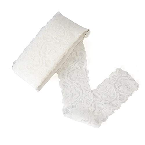 ELLAMAMA Elastic Lace Trim Soft Stretch DIY Craft Delicate Ribbon Vintage Flora Pattern 2-1/8 Inch Wide 10yds White for Wedding Decorations Headbands Garters Gift Wrapping Ribbon Tape