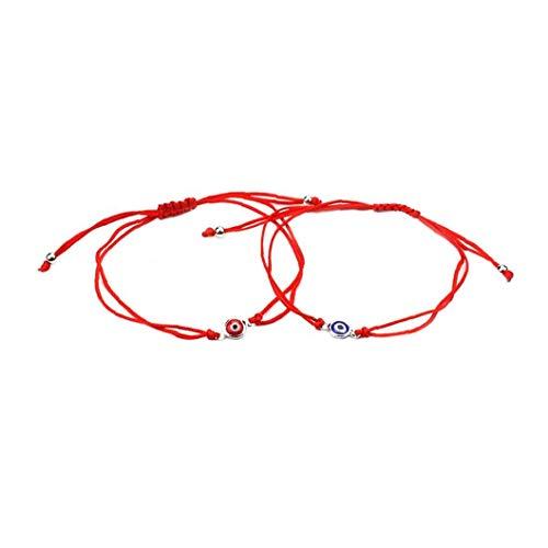 2 Pcs Pulsera Del Ojo Malvado Afortunado Brazalete De La Trenza De Ojos Cordón Ajustable Cuerda Pulsera Pulsera De La Amistad Conjunto De Joyería Hombres Mujeres Rojo Azul Herramientas Convenientes