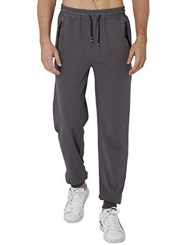 AIDEAONE Joggers Streetwear für Männer Fitness Hosen Laufhose Stylisch Sweathose Reißverschluss Elegante Jogginghose Grau