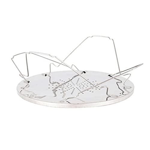Linsition Portable Toast Rack Stand, 4 Slice Foldable Stand Bread Toast Shelf, Stainless Steel Toast Shelf, Porous Tray Bread Toaster, for Families, Outdoor, Camping, Picnic
