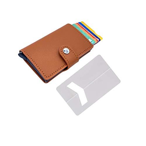 Tarjetero de Hombre pequeño con Monedero ( pequeña Cartera) – Tarjetero metalico Aluminio automatico RFID para Tarjetas de crédito de Piel Sintetica ✚ Soporte Tarjeta para teléfono movil