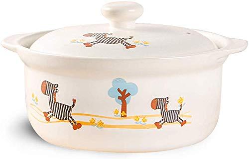 Sooiy Cazuela cazuela hogar Olla de cerámica Olla de Barro cazuela de Gas de Dibujos Animados Hochtemperaturbrei Sopa de Sopa de cazuela (Color: Blanco, Tamaño: 25 * 25 * 19)