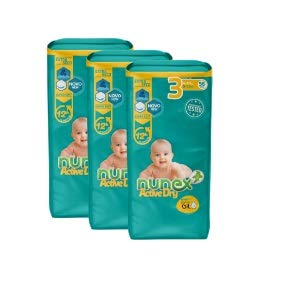 Pañales Nunex Active Dry (Talla 3 (4-10 kg)) (168 ud)