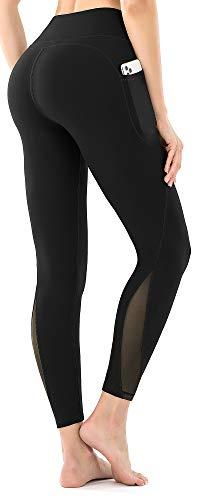 Leovqn High Waist Damen Mesh Sport Fitness Yogahose Lange Leggings Blickdicht Sporthose Leggins Fitnesshose mit Taschen Schwarz S