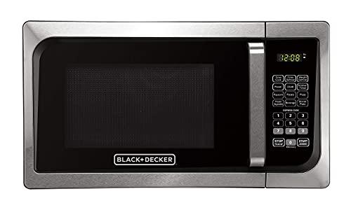 Black+Decker, Stainless Steel EM925AJK-P1 0.9-Cu. Ft. Pull Handle Microwave (Renewed)