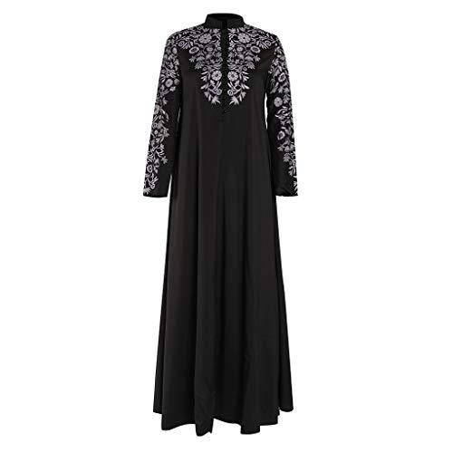 Lazzboy Muslim Maxi Kleid Trompete ärmel Abaya Lange Robe Kleider Tunika Gürtel Frauen Moslems Lose Einfarbig Kleidung Araber Kaftan Dubai(Schwarz,2XL)