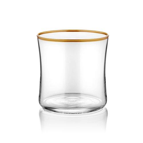 Koleksiyon Wasserglas klein transparent mit Goldrand 250 ml 6er Set