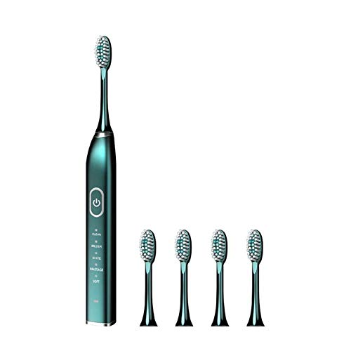 Ultrasonic Smart Cleaning Toothbrush, Adult Household USB Charging Soft-Bristled Electric Toothbrush, Five Modes, 5 Toothbrush Heads, 3 Hours Charging 180 days of battery life ( Color : Aurora Green )