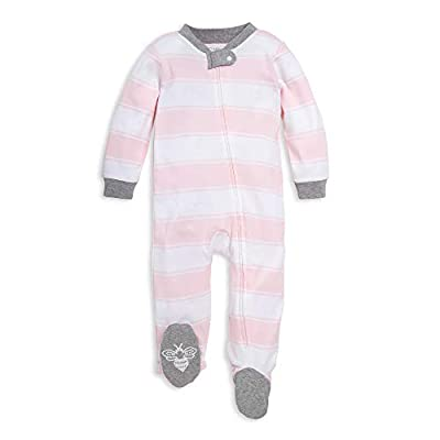 Burt's Bees Baby Unisex Baby Sleep & Play, Organic Pajamas, NB-9M One-Piece Zip Up Footed PJ Jumpsuit, Pink Stripes, 3-6 Months