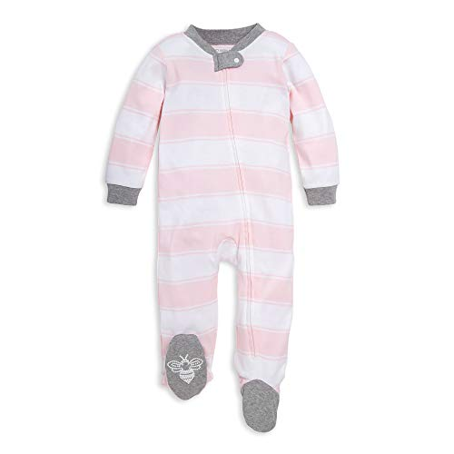 Burt's Bees Baby Unisex Baby Sleep & Play, Organic One-Piece Romper-Jumpsuit PJ, Zip Front Footed Pajama, Pink Rugby Stripe, 3-6 Months