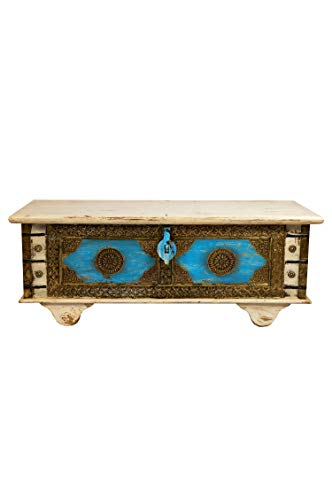 Orientalische Truhe Kiste aus Holz Murali 115cm groß in Weiß | Vintage Sitzbank mit Aufbewahrung für den Flur | Aufbewahrungsbox mit Deckel im Bad | Betttruhe als Kissenbox oder Deko im Schlafzimmer
