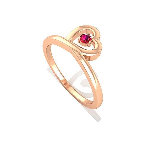 0.15 CTT Certified Round Solitaire Ruby Lab Anillo de compromiso Creado, Solid Gold 14k Corazón Abierto Novia, 18K Oro rosa, Size:EU 70