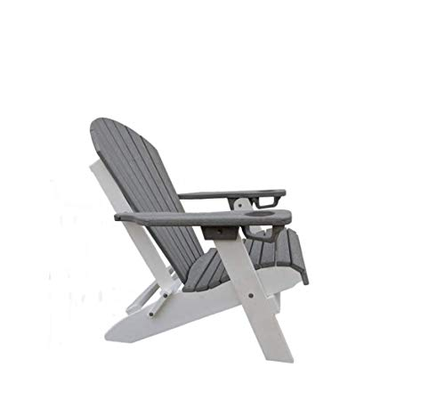 Mahogany & Black Adirondack USA Made Premium Luxury All Weather Polywood Folding Adirondack Chair w/Cup Holder in Each Arm - Eco Friendly, No Maintenance