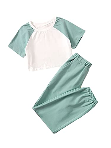 Romwe Conjunto de pantalones de chándal para niña de manga corta y pantalones de jogger, forro polar verde con licencia oficial de star wars silent one crew., 12 Años