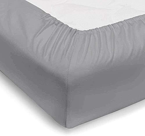 Vesgantti - Sábana bajera ajustable (35 cm, 100% algodón egipcio de 250 hilos, sábana bajera para colchón, algodón, gris, 90x200
