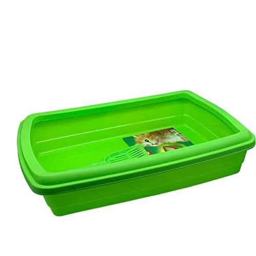 Plastic Forte - Arenero para Gatos con Pala 47 x 31 x 11 cm, Bandeja higiénica con Borde Alto extraíble, gatera, Caja Arena Sanitaria, Base y Borde del Mismo Color Aleatorio