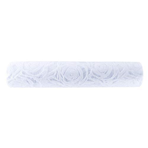Idee con cuore - Runner da tavola deluxe   tessuto non tessuto decorativo su rotolo   30 cm x 5 m   Runner   Decorazione da tavolo   Diversi design a scelta (rose, bianco)