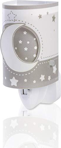 Dalber Nachtlicht Steckdose Kind Baby, LED Nachtlicht für Kinderzimmer, Mond und Sterne MoonLight Grau