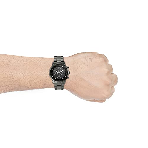 Fossil Híbrido Hombres Collider Smartwatch HR con pantalla de lectura siempre activada, frecuencia cardíaca, seguimiento de actividad, notificaciones de teléfonos inteligentes, vista previa de mensajes, Negro, marrón oscuro.