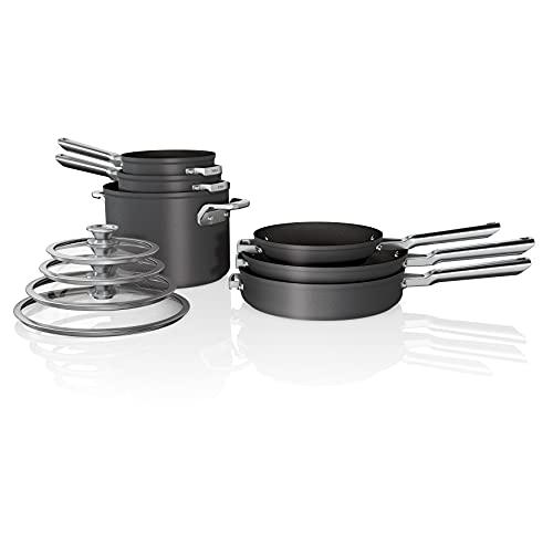Ninja C59500 10-Piece Coowkare Set Foodi Neverstick, Premium Anti-Scratch Nesting Pots & Pans with Lids, Grey
