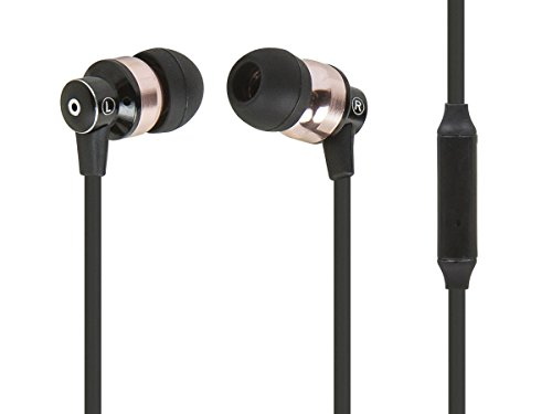 Monoprice Hi-Fi Reflective Sound Technology Earbuds Headphones - Black/Bronze with in-line Microphone