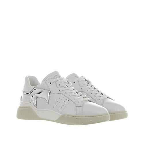 Tod's Sneaker IN Pelle Bianco,Argento 37