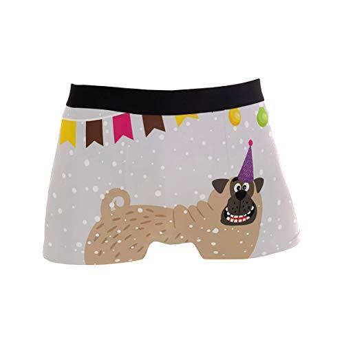 Fitted Boxer Bóxer Perro Suave Feliz año Nuevo Boxer Calzoncillos para Hombre,2,XL