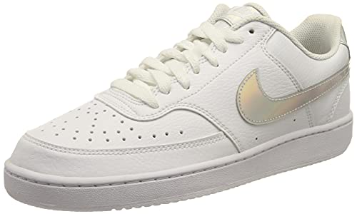 Nike Court Vision Low, Scarpe da Basket Donna, White/Multi-Color-Black, 42 EU