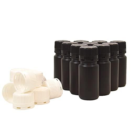 KENZIUM - Pack de 10 Botellas de Laboratorio + 10 Tapones Blancos + 10 Negros, para Muestras de 125 ml | de Cuello Ancho, de Plástico HDPE, Frascos Opacos, para Productos Fotosensibles