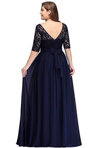 Misshow Damen Übergröße Abendkleid Spitze Chiffon mit Ärmel Elegant Lang Ballkleid , Blau, 54