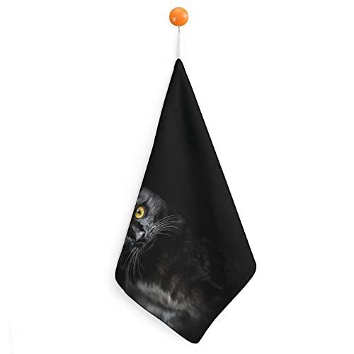 Toallas De Mano con Lazo para Colgar Ojos Amarillos Gato Negro Toallas Absorbentes para Manos De Baño Paño Suave para Platos Toallas para Secar A Mano Colgante Cuadrado 30cm
